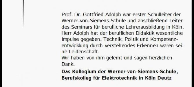 Nachruf Prof. Dr. Gottfried Adolph